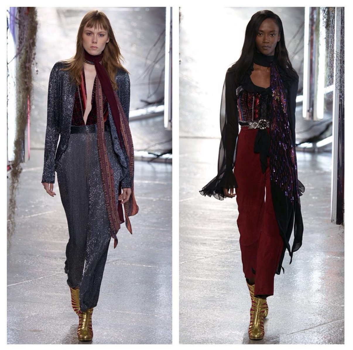 Soft bohemian looks from the Rodarte SS16 show. Both looks by luxelab Mentor Stylist and Kerastase tech educator Craig Wcislo. Lead hair by Odile Gilbert.