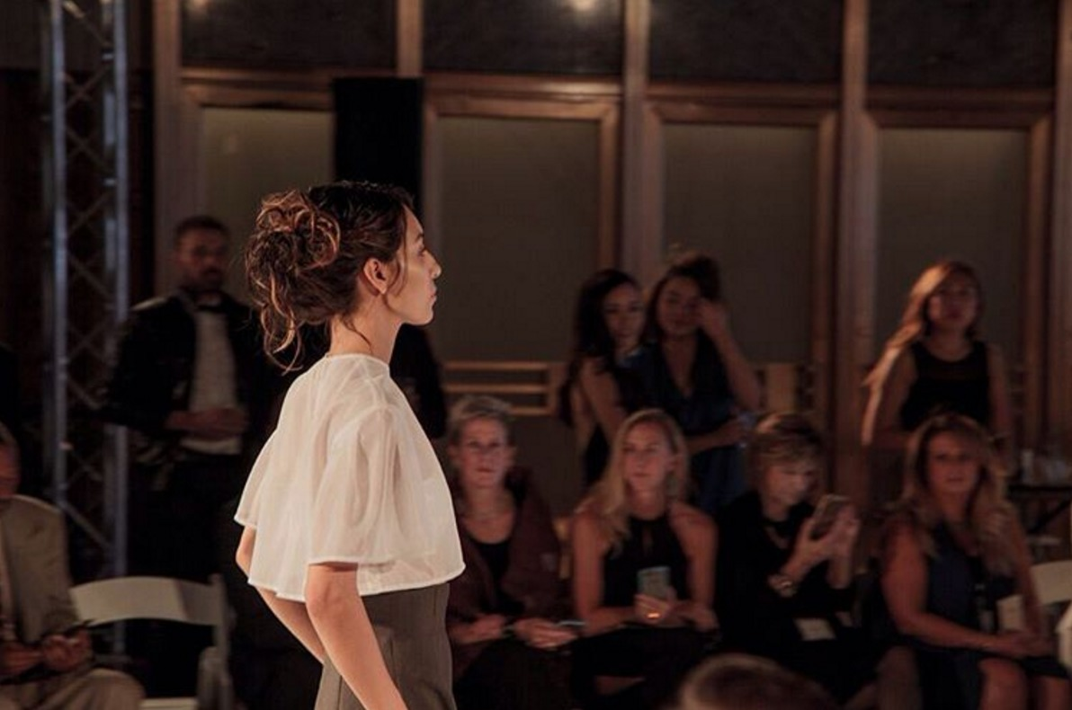 Deconstructed updos by luxe group hair team making their way down the runway for the Yohei Ohno LAFW show. Lead hair by Eric Garza. Photo by EL3 Productions.