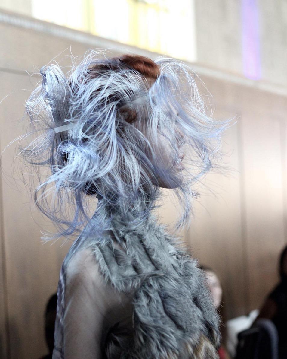 Silver Siren at the Flora Miranda LAFW show. Key Stylist Justin Woods. Photo by Liz Abrams.