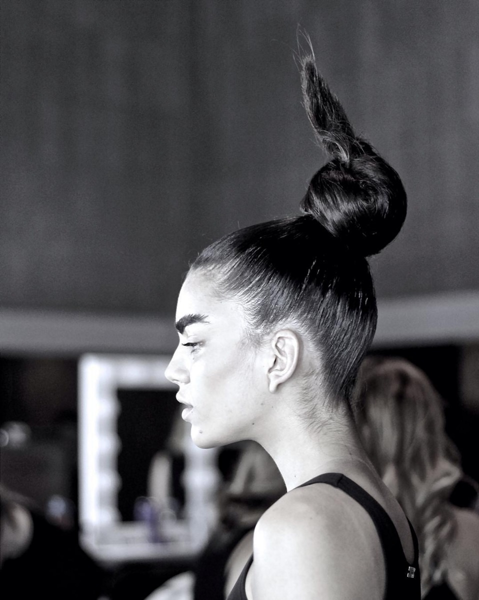 Hair raising beauty by Justin Woods and Eric Garza at the Ashton Michael LAFW show. Luxe Group Key Stylist Craig Wcislo. Photo by Liz Abrams.